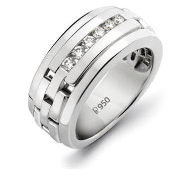 Men's Platinum Wedding Band with Diamonds SJ PTO 229 - Suranas Jewelove