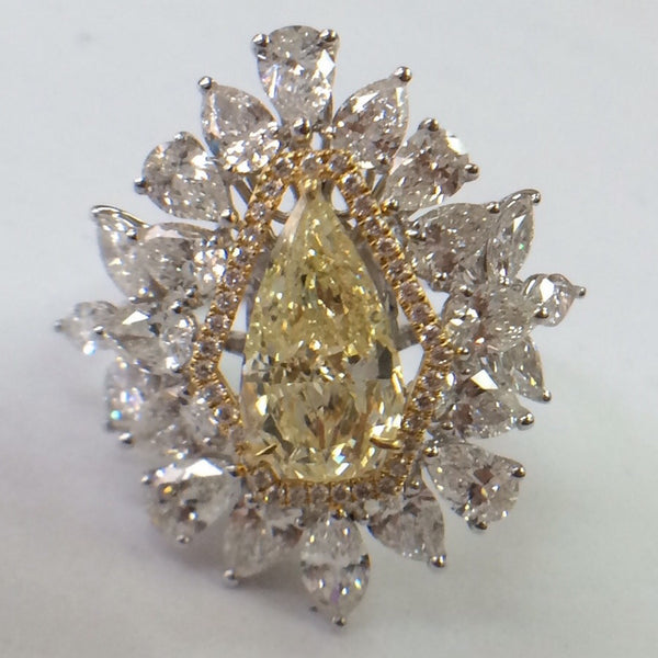 Natural Fancy Color Yellow Diamond Designer Solitaire Ring SKU 14 - Suranas Jewelove  - 1