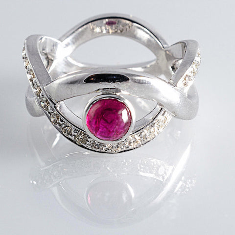 Natural No Heat Burma Ruby set in Designer White Gold Ring with Diamonds - Suranas Jewelove