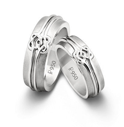 Plain Platinum Love Bands with Celtic Knots SJ PTO 203 - Suranas Jewelove
