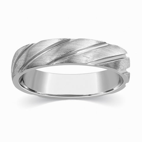 Plain Platinum Ring for Men with Grooves SJ PTO 293 - Suranas Jewelove