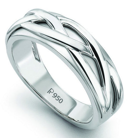 Plain Platinum Ring with Vines for Men SJ PTO 232 - Suranas Jewelove