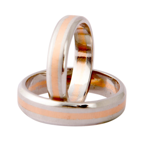 Plain Platinum & Rose Gold Couple Rings JL PT 402 - Suranas Jewelove  - 1