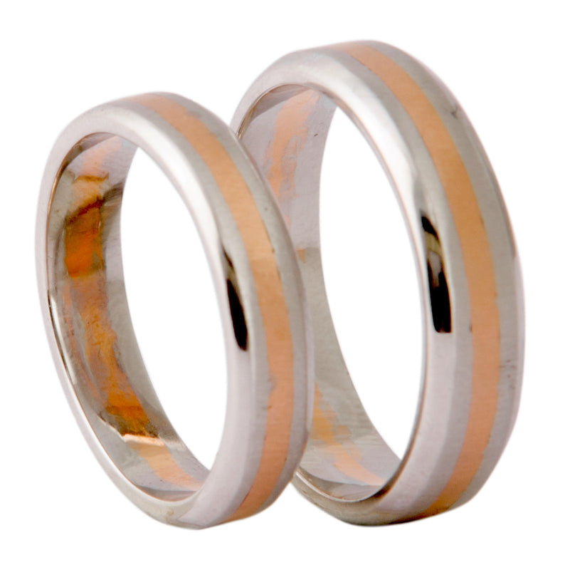 Plain Platinum & Rose Gold Couple Rings JL PT 402 - Suranas Jewelove  - 2
