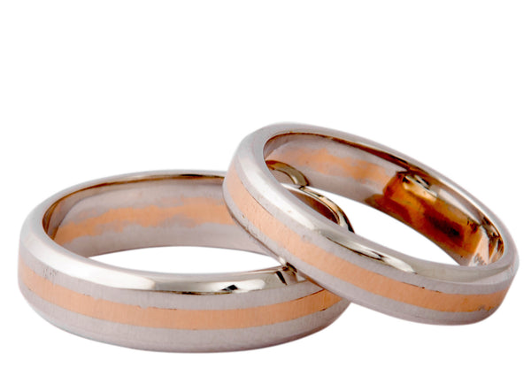 Plain Platinum & Rose Gold Couple Rings JL PT 402 - Suranas Jewelove  - 3