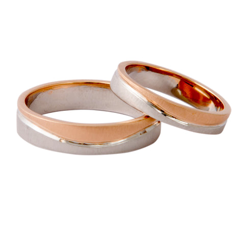 Plain Platinum & Rose Gold Couple Rings with a Wave JL PT 403 - Suranas Jewelove  - 1