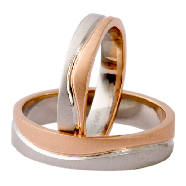 Plain Platinum & Rose Gold Couple Rings with a Wave JL PT 403 - Suranas Jewelove  - 2