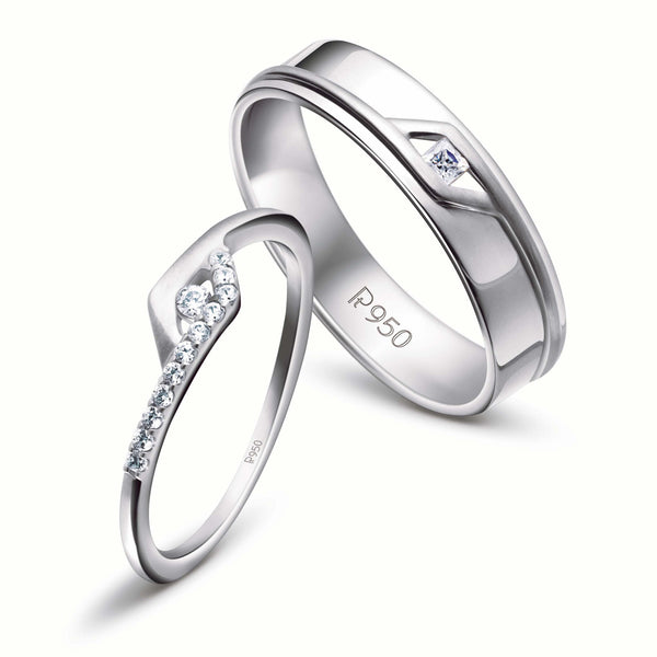 Rings - Platinum Couple Rings With Princess Cut Diamond JL PT 454