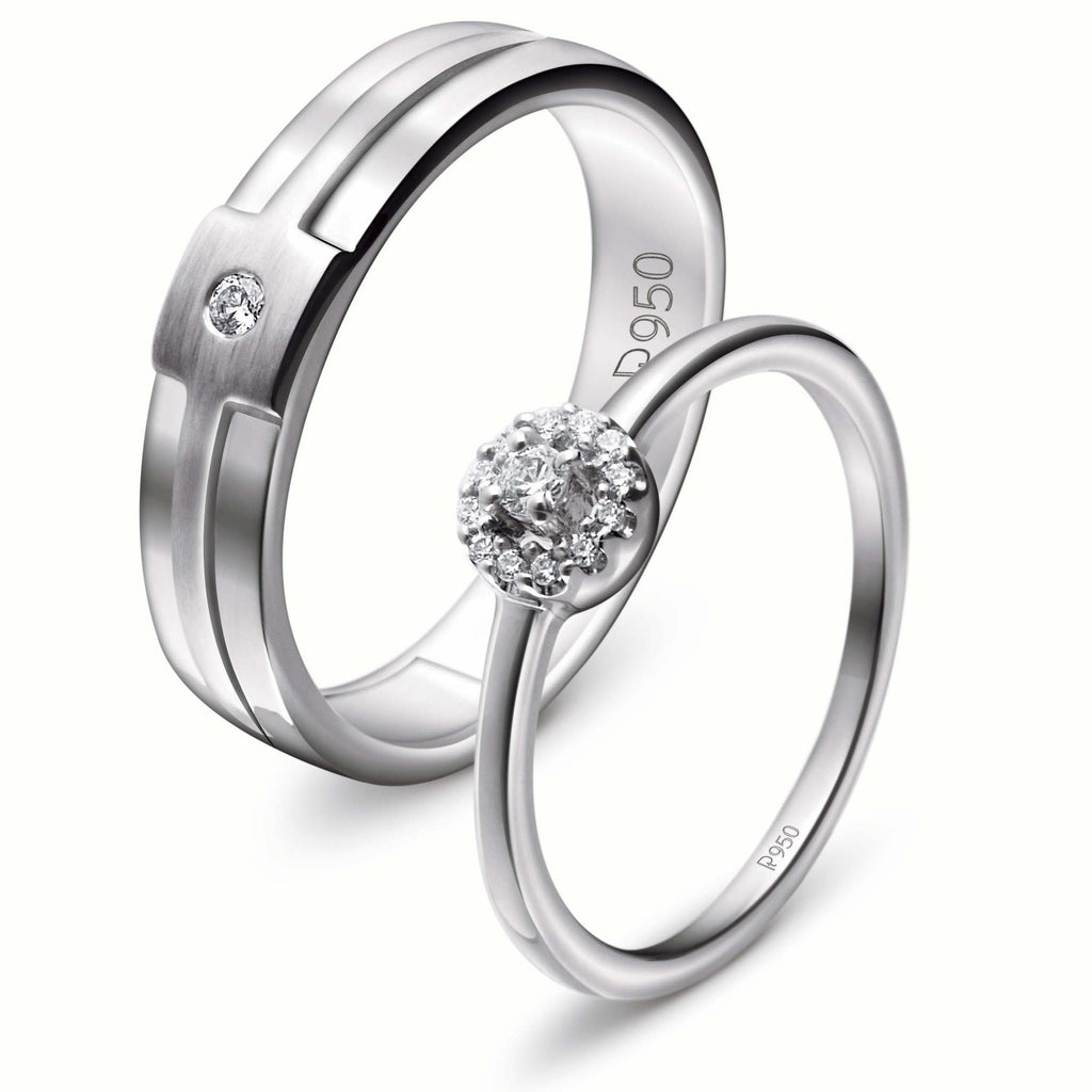 Rings - Platinum Engagement Couple Rings With Diamonds JL PT 456