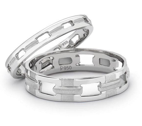 Platinum Love Bands - Love Links SJ PTO 118 - Suranas Jewelove