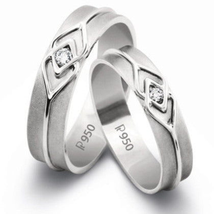 Platinum Love Bands with a Celtic Knot with Single Diamonds SJ PTO 217 - Suranas Jewelove