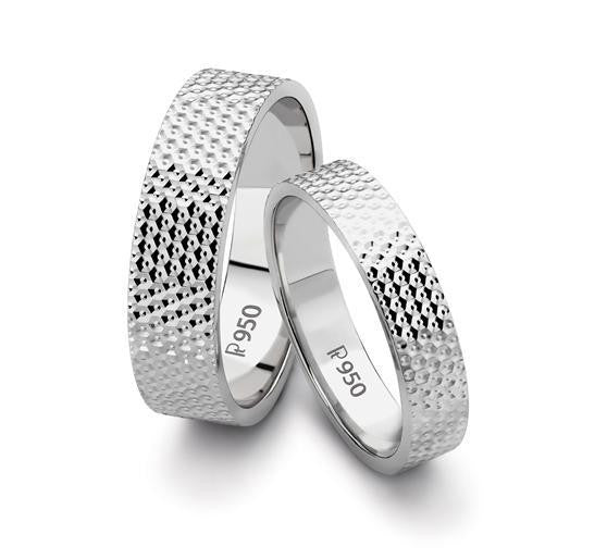 Platinum Love Bands with Diamond Cut SJ PTO 123 - Suranas Jewelove