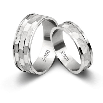 Platinum Love Bands with Hammer Finish SJ PTO 210 - Suranas Jewelove