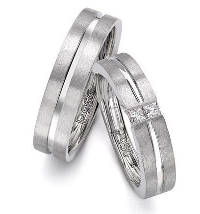 Platinum Love Bands with Princess cut Diamonds SJ PTO 241 - Suranas Jewelove