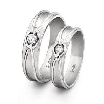 Platinum Love Bands with Single Diamonds in a Knot SJ PTO 208 - Suranas Jewelove