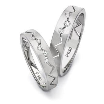 Platinum Love Bands - Zigzag - Life is not straight, is it? SJ PTO 106 - Suranas Jewelove