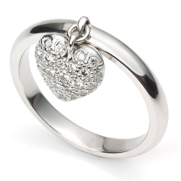Platinum Ring with Diamond Heart Pendant SJ PTO 286 - Suranas Jewelove  - 3