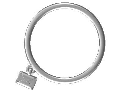 Rings - Platinum Ring With Hanging Email Pendant JL PT 434