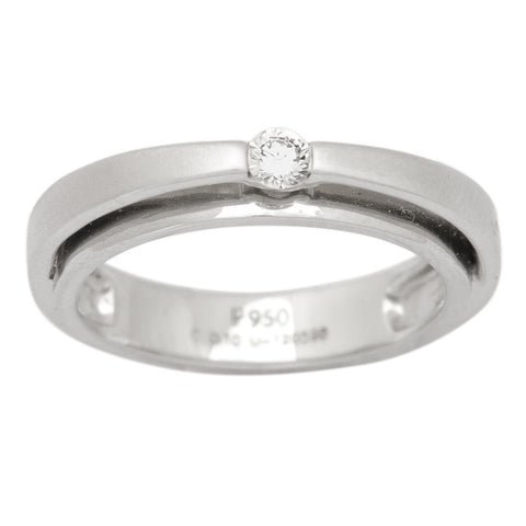 Rings - Platinum Ring With Raised Single Diamond For Women JL PT 409