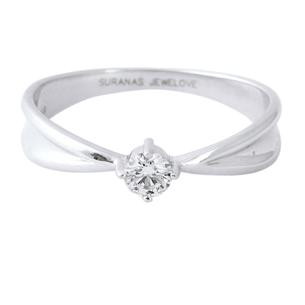 Platinum Ring with Raised Solitaire for Women JL PT 400 - Suranas Jewelove