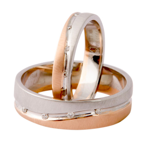 Platinum & Rose Gold Couple Rings with Tiny Diamonds JL PT 404 - Suranas Jewelove  - 1