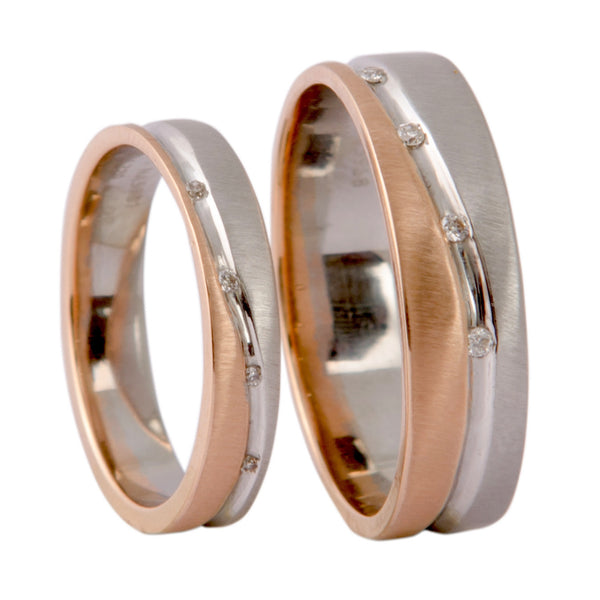 Platinum & Rose Gold Couple Rings with Tiny Diamonds JL PT 404 - Suranas Jewelove  - 2