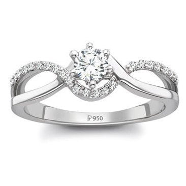 Platinum Solitaire Engagement Ring for Women SJ PTO 205 - Suranas Jewelove