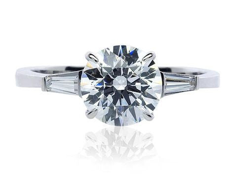 Platinum Solitaire Engagement Ring with Baguette Accents SJ PTO 265 - Suranas Jewelove