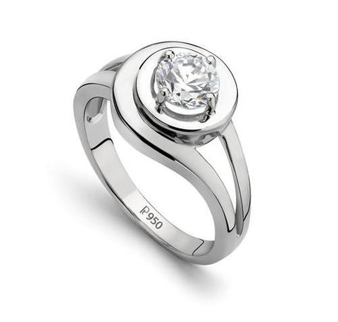 Platinum Solitaire Engagement Ring with Carat Plus Diamond JL PT 504 - Suranas Jewelove