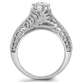 Platinum Solitaire Engagement Ring with Engraving JL PT 506 - Suranas Jewelove  - 1