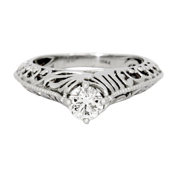 Platinum Solitaire Engagement Ring with Engraving JL PT 506 - Suranas Jewelove  - 2