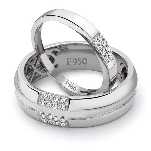 Simple 2 & 4 Row Platinum Love Bands SJ PTO 120 - Suranas Jewelove