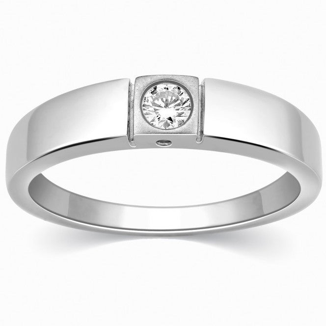 Single Diamond Platinum Ring for Men SJ PTO 311 - Suranas Jewelove  - 1
