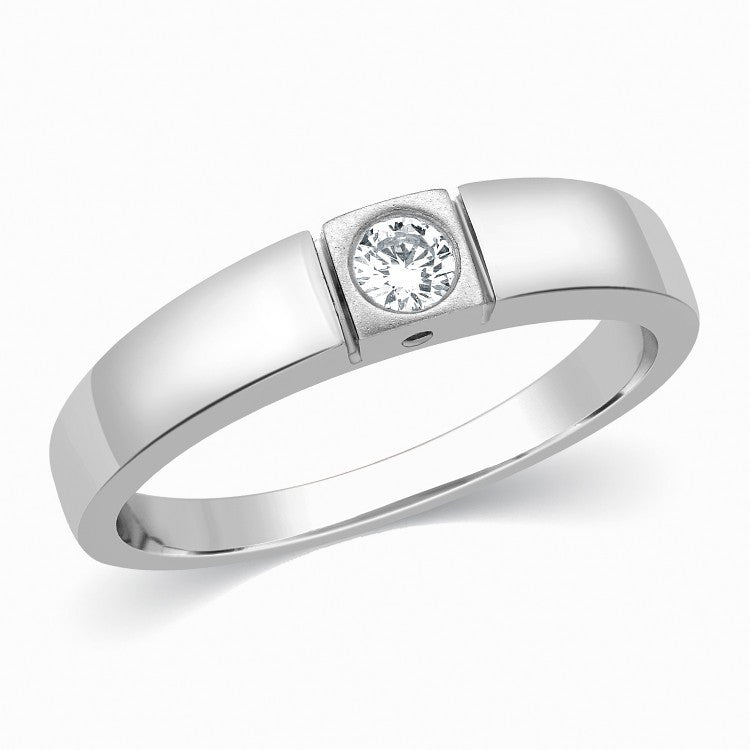 Single Diamond Platinum Ring for Men SJ PTO 311 - Suranas Jewelove  - 2