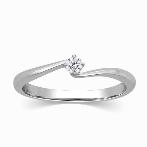 Single Diamond Platinum Ring for Women SJ PTO 304 - Suranas Jewelove