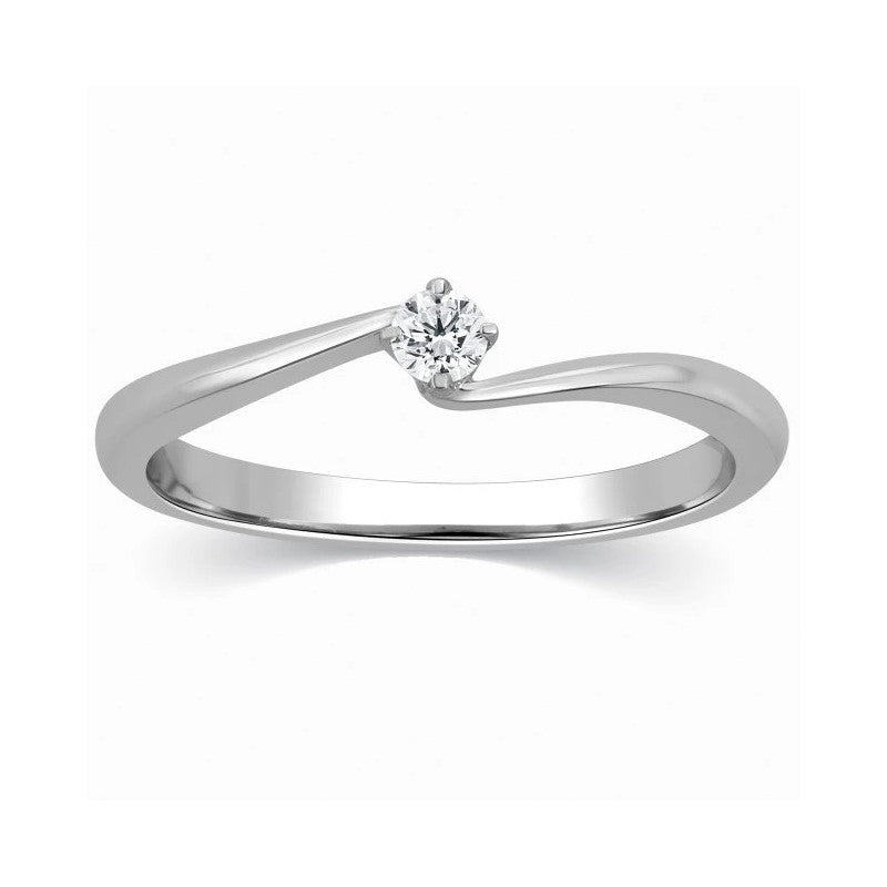 Single Diamond Platinum Ring for Women SJ PTO 304