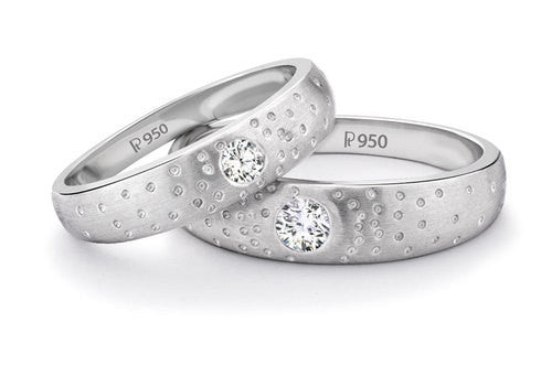 Starry Night Platinum Solitaire Love Bands SJ PTO 116 - Suranas Jewelove