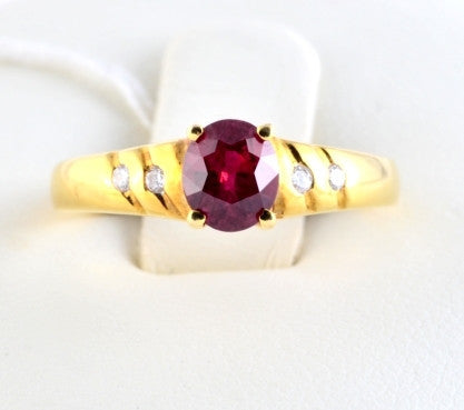 Stunning Burmese Ruby Ring with Diamond Accents in 18K Yellow Gold JL R 55 - Suranas Jewelove  - 1
