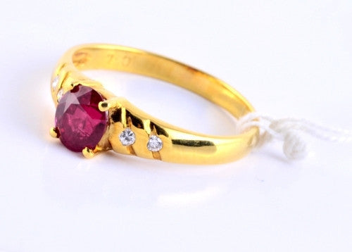 Stunning Burmese Ruby Ring with Diamond Accents in 18K Yellow Gold JL R 55 - Suranas Jewelove  - 2