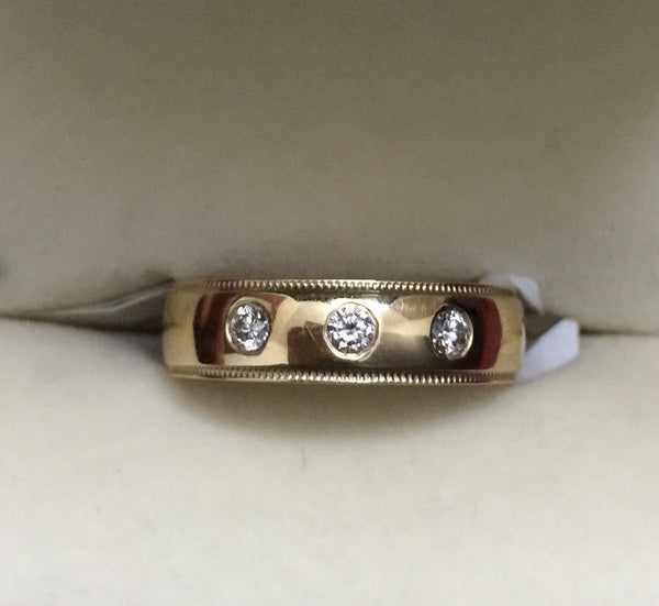 Rings - Super Sale - 14K Gold Ring With Three Diamonds For Women Ring Size 11 JL AU 120