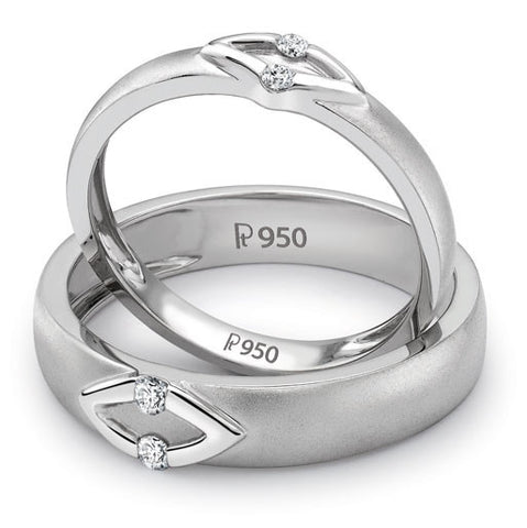 V Design Platinum Love Bands with Diamonds SJ PTO 236 - Suranas Jewelove