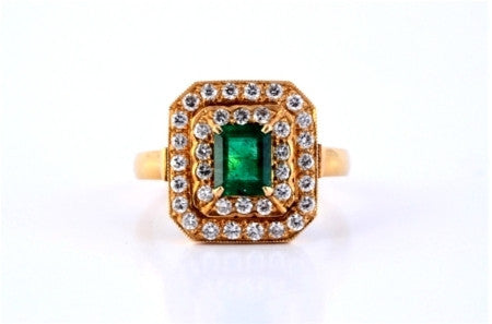 Vintage Natural Emerald Ring with Diamonds by Suranas Jewelove - Suranas Jewelove