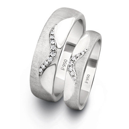Wavy Platinum Love Bands with Diamonds SJ PTO 213 - Suranas Jewelove