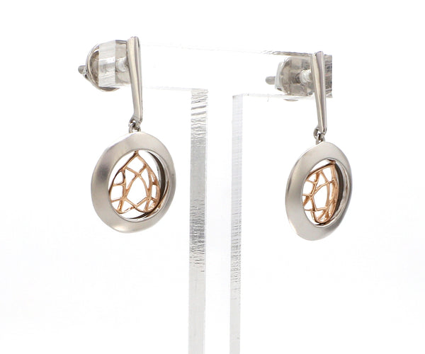 Designer Plain Platinum & Rose Gold Earrings JL PT E 215