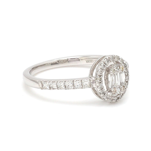 Oval Solitaire-Look Platinum Diamond Ring for Women JL PT 1004
