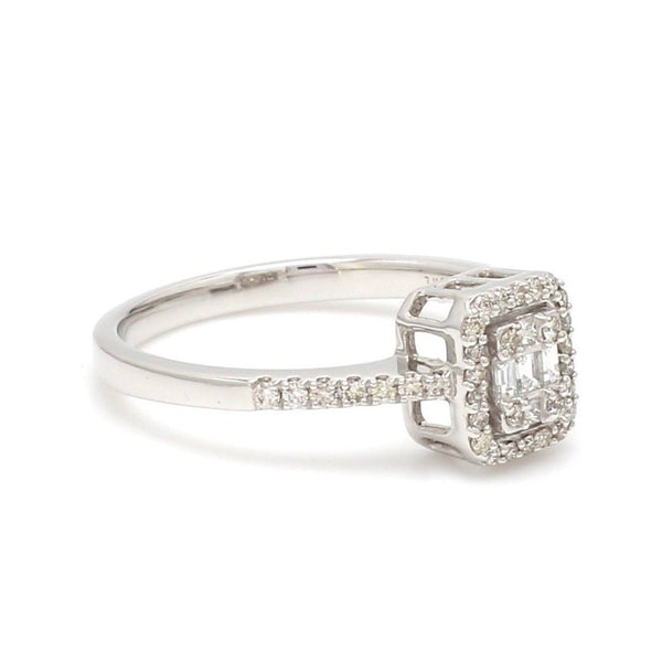 Ready to Ship - Ring Size 11, Emerald Cut Solitaire-look Platinum Engagement Ring for Women JL PT 1011