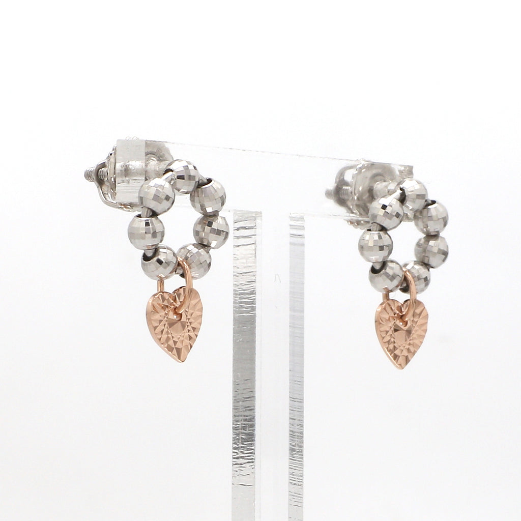 Designer Plain Platinum & Rose Gold Earrings JL PT E 212