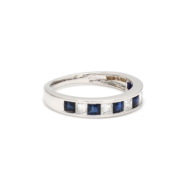 Ready to Ship - Ring Size 12, Platinum Blue Sapphire Diamond Princess Cut Wedding Ring JL PT 1012