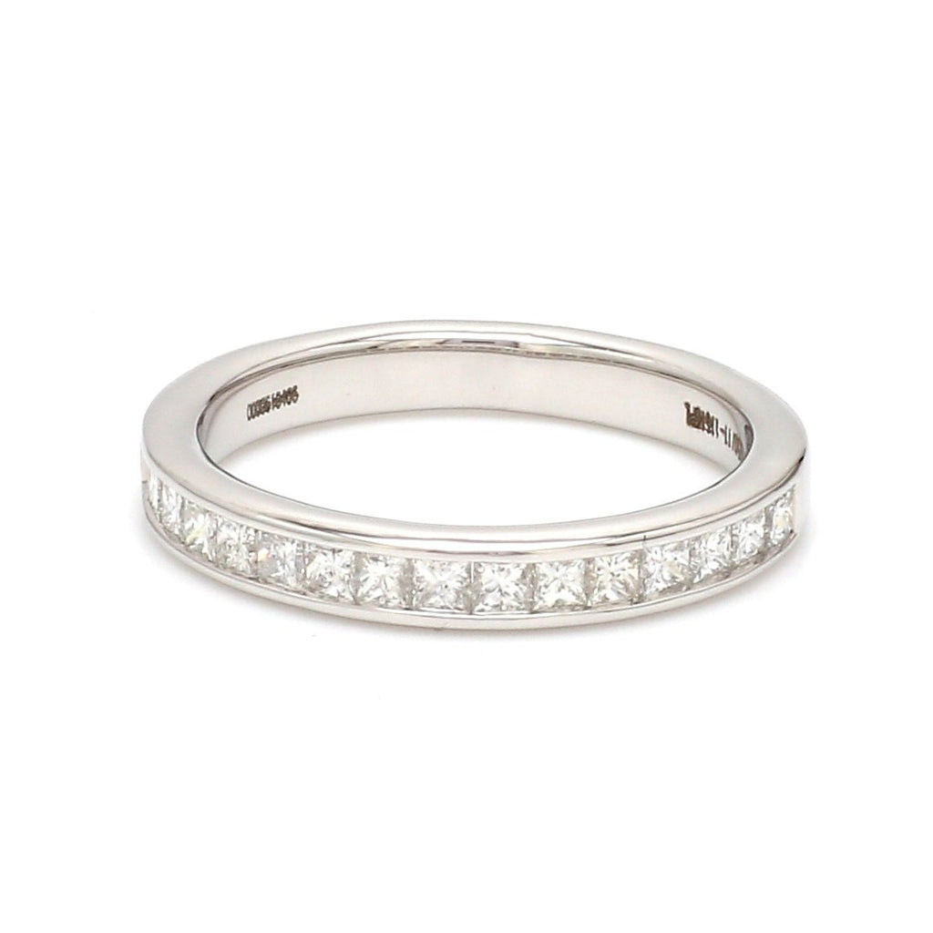 Ready to Ship - Ring Size 13, Princess Cut Diamond Platinum Half Eternity Wedding Band for Women JL PT 1005
