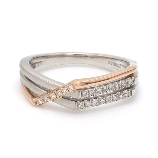 Front View of Parallel Paths Platinum Couple Rings with Rose Gold & Diamonds JL PT 966